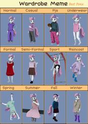 Size: 2048x2877   Tagged: safe, artist:tahublade7, sweetie belle, anthro, plantigrade anthro, 3d, boots, cartwheel, clothes, daz studio, dress, embarrassed, feet, frilly underwear, happy, high res, ice cream, meme, pajamas, panties, pink underwear, raincoat, school uniform, shoes, skirt, socks, sweater, underwear, wardrobe