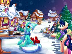 Size: 1024x768   Tagged: safe, artist:f-nar, apple bloom, applejack, big macintosh, bon bon, cheerilee, diamond tiara, lyra heartstrings, pinkie pie, rainbow dash, rarity, scootaloo, silver spoon, sweetie belle, sweetie drops, toe-tapper, torch song, earth pony, pegasus, pony, unicorn, christmas tree, cider, clothes, cutie mark crusaders, hearth's warming eve, male, ponytones, scarf, snow, stallion, sugarcube corner, tree, winter