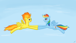 Size: 1920x1080 | Tagged: safe, artist:shikogo, rainbow dash, spitfire, female, flying, lesbian, shipping, spitdash