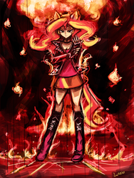 Size: 648x864 | Tagged: safe, artist:lumineko, sunset shimmer, human, equestria girls, badass, eared humanization, female, fiery shimmer, fire, humanized, ponied up, solo, tailed humanization