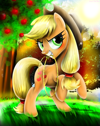 Size: 1280x1600 | Tagged: safe, artist:pinkrose2001, applejack, female, grin, lens flare, mouth hold, rearing, rope, solo, sun, tree