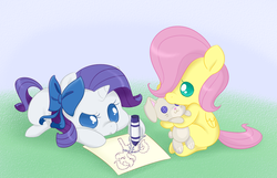Size: 949x610 | Tagged: safe, artist:jessy, fluttershy, rarity, pegasus, pony, unicorn, babity, baby, baby pony, babyshy, bow, cheek squish, crayon, cute, drawing, duo, female, filly, foal, frown, hair bow, hoof hold, hug, plushie, prone, raised eyebrow, raribetes, serious, serious face, shyabetes, sitting, squishy cheeks, younger