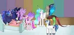 Size: 5900x2800 | Tagged: safe, artist:mutant-girl013, discord, princess cadance, princess celestia, princess luna, shining armor, twilight sparkle, oc, oc:prince illusion, oc:princess nidra, oc:supernova, oc:valiant heart, alicorn, bat pony, hybrid, pony, alicorn oc, alternate hairstyle, baby, baby pony, bed, canon x oc, delivery, dislestia, family, fangs, father and daughter, father and son, female, foal, hospital, interspecies offspring, male, mother and daughter, mother and son, newborn, offspring, older, parent:discord, parent:oc:supernova, parent:princess cadance, parent:princess celestia, parent:princess luna, parent:shining armor, parents:canon x oc, parents:dislestia, parents:shiningcadance, ponytail, shiningcadance, shipping, sisters, smiling, straight, twilight sparkle (alicorn)