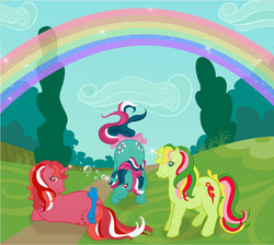 Size: 1280x1149 | Tagged: safe, artist:nollaig, fizzy, galaxy (g1), mimic (g1), pony, twinkle eyed pony, unicorn, g1, magic, rainbow