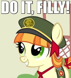 Size: 500x550 | Tagged: safe, edit, edited screencap, screencap, tag-a-long, just for sidekicks, bow, caption, clothes, cute, do it filly, filly, filly guides, freckles, hat, image macro, meme, reaction image, ribbon, smiling, solo, uniform