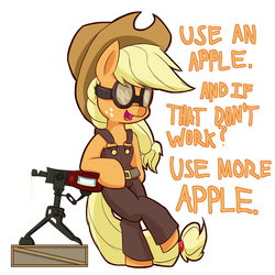 Size: 1050x1050 | Tagged: apple, applejack, artist:heir-of-rick, bipedal, cowboy hat, crossover, daily apple pony, earth pony, engiejack, engineer, female, food, goggles, hat, mare, open mouth, parody, pony, safe, simple background, solo, team fortress 2, text, that pony sure does love apples, turret, white background