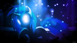 Size: 3840x2160 | Tagged: safe, artist:romus91, artist:up1ter, dj pon-3, vinyl scratch, pony, unicorn, dark, female, glasses, glowing eyes, hooves, horn, lying down, mare, solo, sunglasses, vector, wallpaper