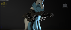 Size: 1183x507 | Tagged: 3d, artist:applemau, concept, fun, minigun, pony, preview, safe, solo, trixie, unicorn