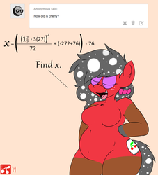 Size: 2000x2200 | Tagged: algebra, anthro, artist:thecherrysodaaskblog, ask, belly, belly button, bipedal, chubby, female, hair bow, math, oc, oc:anon, oc:cherry soda, oc only, round, safe, solo, thecherrysodaaskblog, thighs, tumblr, wide hips