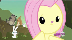 Size: 1280x720 | Tagged: angel bunny, artist:dtkraus, badger, bunnyshy, edit, face swap, fluttershy, mouse, safe, screencap, squirrel, wat