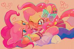 Size: 1060x704 | Tagged: dead source, safe, artist:hotomura, pinkie pie, askharajukupinkiepie, cute, diapinkes, duality, famihara, hug, pixiv, self ponidox, selfcest