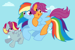 Size: 2624x1752 | Tagged: safe, artist:unoriginai, rainbow dash, scootaloo, oc, oc:skedaddle surge, pegasus, pony, cute, family, female, filly, flying, happy, laughing, lesbian, lying down, magical lesbian spawn, offspring, parent:rainbow dash, parent:scootaloo, parents:scootadash, scootadash, shipping, sky