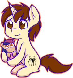 Size: 868x920 | Tagged: safe, artist:mochi--pon, oc, oc:mayday parker sparkle, pony, baby, baby pony, crossover, cute, father and daughter, offspring, parent:peter parker, parent:twilight sparkle, parents:spidertwi, peter parker, simple background, spider-man, spiders and magic ii: eleven months, tears of joy, transparent background