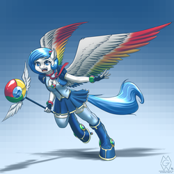 Size: 2000x2000 | Tagged: anthro, anthro oc, artist:mykegreywolf, boob window, browser ponies, cleavage, clothes, female, google chrome, happy, high res, magical girl, necktie, oc, oc:google chrome, oc only, pegasus, ponified, safe, skirt, solo, spread wings, staff, thigh highs, unguligrade anthro, vest, wand