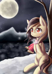 Size: 2480x3507 | Tagged: safe, artist:dyoung, oc, oc only, oc:vanilla, clothes, moon, pixiv, scarf, scenery, snow, snowflake, solo, tree