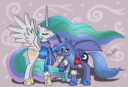 Size: 987x674 | Tagged: safe, artist:pony-spiz, princess celestia, princess luna, clothes, s1 luna, scarf