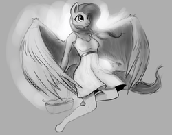 Size: 1199x943 | Tagged: safe, artist:rain-gear, fluttershy, anthro, monochrome, solo