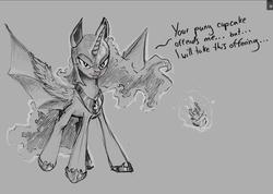 Size: 1280x910 | Tagged: safe, artist:rain-gear, nightmare moon, princess luna, bat pony, pony, blushing, candle, cupcake, frown, glare, lunabat, magic, monochrome, race swap, solo, spread wings, telekinesis, tsundere, tsundere moon