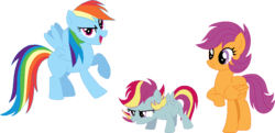 Size: 981x475 | Tagged: safe, artist:archerinblue, rainbow dash, scootaloo, oc, oc:skedaddle surge, family, female, lesbian, magical lesbian spawn, offspring, older, parent:rainbow dash, parent:scootaloo, parents:scootadash, scootadash, shipping, simple background, transparent background