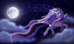 Size: 2852x1721 | Tagged: safe, artist:trippinmars, oc, oc only, oc:valkyrie, alicorn, pony, alicorn oc, cloud, cloudy, female, flying, full moon, looking back, mare, moon, night, night sky, sky, solo, spread wings, starry eyes, starry night, stars, windswept mane, windswept tail, wingding eyes, wings