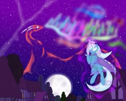 Size: 2560x2048 | Tagged: safe, artist:virenth, trixie, dragon, pony, unicorn, female, magic, mare, moon, night, solo