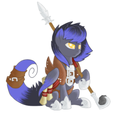 Size: 731x681 | Tagged: armor, artist:divergentassailant, oc, oc:deft serenity, oc only, pegasus, pony, safe, scroll, sitting, spear