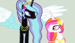 Size: 621x360 | Tagged: safe, artist:frozenightpl, oc, oc only, oc:frozen night, oc:shining sun, alicorn, pony, alicorn oc, duo, friendship, sisters