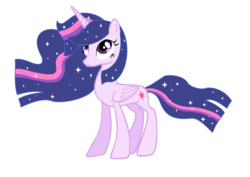 Size: 3296x2328 | Tagged: safe, artist:flaremane, artist:frozenightpl, twilight sparkle, alicorn, pony, magical mystery cure, ethereal mane, female, mare, older, shiny, simple background, solo, twilight sparkle (alicorn), ultimate twilight, white background