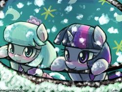 Size: 960x720 | Tagged: safe, artist:lumineko, coco pommel, twilight sparkle, alicorn, pony, blushing, cocobetes, cute, female, mare, open mouth, smiling, snow, snowfall, twiabetes, twilight sparkle (alicorn)