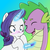 Size: 1600x1600 | Tagged: safe, artist:kianamai, artist:xhalesx, color edit, edit, rarity, spike, dragon, pony, unicorn, kilalaverse, blushing, colored, eye clipping through hair, eyebrows, eyebrows visible through hair, eyes closed, female, frown, glowing, glowing horn, gradient background, horn, magic, magic aura, male, mare, open mouth, open smile, pregnancy test, shipping, smiling, sparity, straight, telekinesis, wide eyes
