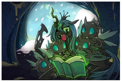 Size: 1748x1181 | Tagged: safe, artist:littledarkdragon, queen chrysalis, changeling, changeling queen, book, cave, cuddle puddle, cuddling, cute, cutealis, cuteling, fangs, featured image, female, frown, magic, mommy chrissy, open mouth, reading, slit eyes, smiling, snow, snowfall, snuggling, storytelling, sweet dreams fuel, telekinesis, winter