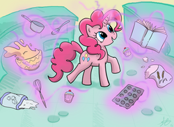Size: 3429x2500 | Tagged: safe, artist:scarabdynasty1, pinkie pie, pony, unicorn, baking, book, bowl, cake, cooking, female, flour, food, magic, race swap, saucepan, solo, spoon, sugar (food), whisk, xk-class end-of-the-world scenario