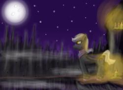 Size: 877x637 | Tagged: safe, artist:sadlylover, bat pony, pony, candle, moon, mountain, royal guard, stars