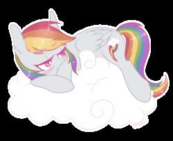 Size: 1280x1047 | Tagged: safe, artist:hawthornss, rainbow dash, pegasus, pony, annoyed, blushing, cloud, ear fluff, female, lying, mare, simple background, solo, transparent background, tsunderainbow, tsundere