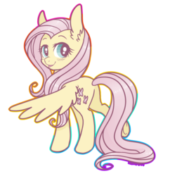 Size: 1280x1323 | Tagged: safe, artist:hawthornss, fluttershy, :p, blushing, cute, ear fluff, female, looking at you, looking back, plot, raised leg, simple background, smiling, solo, spread wings, tongue out, transparent background, underhoof