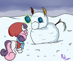 Size: 1500x1250   Tagged: safe, artist:malwinters, sweetie belle, pony, unicorn, clothes, coat, cute, diasweetes, female, filly, gem, hat, magic, scarf, snow, snowpony, solo, telekinesis, winter