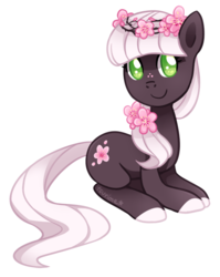 Size: 513x645 | Tagged: safe, artist:tsurime, oc, oc only, earth pony, pony, adoptable, floral head wreath, simple background, solo, transparent background
