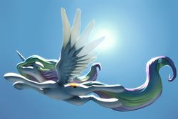 Size: 3048x2048 | Tagged: artist:nadnerbd, backlighting, belly, belly button, cute, cutelestia, floppy ears, flying, from below, frown, lidded eyes, low angle, missing accessory, princess celestia, safe, sidemouth, sky, solo, spread wings, subsurface scattering, sun, sunlight, underhoof, windswept mane, wings