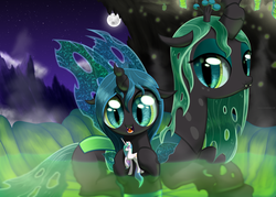 Size: 2500x1789 | Tagged: safe, artist:nimaru, princess celestia, queen chrysalis, oc, changeling, changeling queen, nymph, bath, bathing, changeling hive, changeling queen oc, cloud, cocoon, cute, cutealis, duo, duo female, female, filly, mare, moon, mother and daughter, mountain, night, night sky, ocbetes, sky, stars, toy, younger
