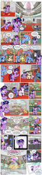 Size: 1200x4934 | Tagged: safe, artist:muffinshire, twilight sparkle, oc, oc:bumble breeze, oc:dewy oak, oc:flyleaf, oc:swirling star, unnamed oc, pegasus, pony, unicorn, comic:twilight's first day, adorkable, book, camera, camera shot, canon x oc, colt, comb, comic, crying, cute, dork, female, filly, filly twilight sparkle, glasses, glowing horn, heliocentric theory, hourglass, id, levitation, library, library card, magic, magic aura, male, mare, mare in the moon, moon, muffinshire is trying to murder us, music notes, nerdgasm, nervous, orrery, photo, princess celestia's school for gifted unicorns, pronking, reading, saddle bag, scenery, scenery porn, slice of life, stallion, sweat, tears of joy, teary eyes, telekinesis, twiabetes, underhoof, unicorn twilight, unshorn fetlocks, younger