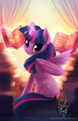 Size: 900x1391 | Tagged: safe, artist:starshinebeast, twilight sparkle, alicorn, pony, adorkable, blushing, book, cute, dork, female, levitation, looking at you, looking back, magic, solo, that pony sure does love books, twiabetes, twilight sparkle (alicorn)