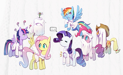 Size: 1428x867 | Tagged: safe, artist:sweetsound, artist:xin yu hua yin, applejack, fluttershy, pinkie pie, rainbow dash, rarity, twilight sparkle, alicorn, parasprite, pegasus, pony, unicorn, ..., applejack's hat, boob window, book, clothes, cowboy hat, eyes closed, female, flying, group, hat, keyhole turtleneck, looking at you, looking back, mane six, mare, open-chest sweater, pixiv, question mark, rainbow dash always dresses in style, silly, silly pony, simple background, smiling, speech bubble, spread wings, sweater, sweatershy, turtleneck, twilight sparkle (alicorn), wardrobe misuse, we don't normally wear clothes, wings, you're doing it wrong
