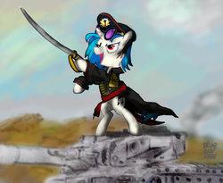 Size: 1024x839 | Tagged: safe, artist:blueboxdave, dj pon-3, vinyl scratch, clothes, commissar, crossover, drive me closer, imperial guard, leman russ, leman russ vanquisher, power sword, sword, tank (vehicle), warhammer (game), warhammer 40k