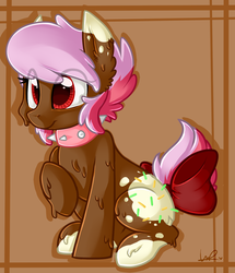 Size: 1329x1548 | Tagged: safe, artist:shyshyoctavia, oc, oc only, oc:sickly sweet, earth pony, food pony, original species, pony, bow, choker, ear fluff, food, sitting, smiling, solo, spiked choker, sprinkles, tail bow