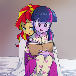 Size: 500x500 | Tagged: source needed, useless source url, safe, artist:baekgup, sunset shimmer, twilight sparkle, equestria girls, rainbow rocks, baekgup is trying to murder us, blushing, book, clothes, cuddling, cute, daaaaaaaaaaaw, dawwww, female, hnnng, hug, lesbian, open mouth, pajamas, reading, shipping, smiling, snuggling, story in the comments, sunsetsparkle, twilight sparkle (alicorn)