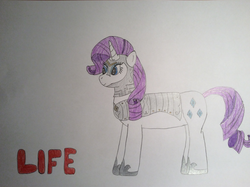 Size: 2592x1936 | Tagged: armor, armorarity, artist:epicalaxy master, drawing, pony, pun, rarity, safe, solo, text, unicorn