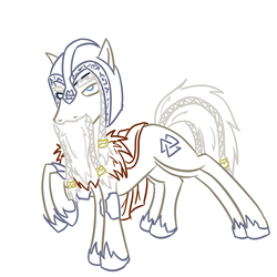 Size: 800x800 | Tagged: armor, artist:wryte, beard, braid, braided tail, eyepatch, helmet, lineart, male, mythology, newbie artist training grounds, norse, norse mythology, odin, ponified, runes, safe, sleipnir, solo, valknut