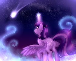 Size: 2500x2000 | Tagged: alicorn, artist:nessacity, cloud, cloudy, female, glowing horn, mare, night, pony, safe, shooting star, solo, stars, twilight sparkle, twilight sparkle (alicorn)