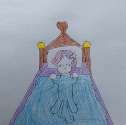 Size: 1920x1907 | Tagged: artist:epicalaxy master, bed, drawing, eyes closed, on back, safe, sleeping, smiling, solo, sweetie belle, traditional art