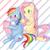 Size: 700x700 | Tagged: safe, artist:kona1025, fluttershy, rainbow dash, alternate hairstyle, blushing, braid, cute, dashabetes, duo, hair accessory, hairclip, mirror, open mouth, pixiv, scrunchie, shyabetes, sweat